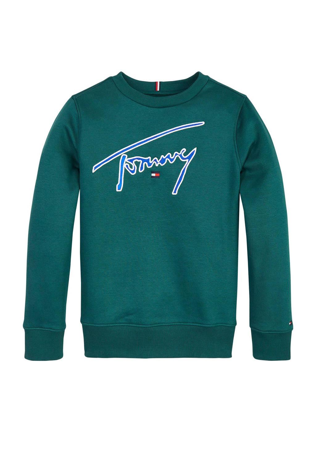Tommy Hilfiger sweater met logo en borduursels groen, Groen