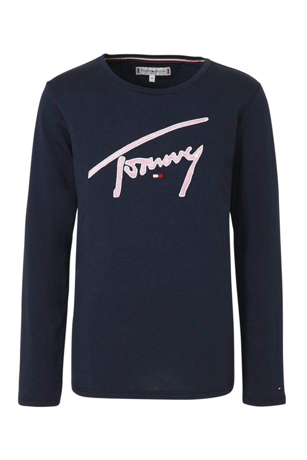 Tommy Hilfiger longsleeve met borduursels donkerblauw, Donkerblauw