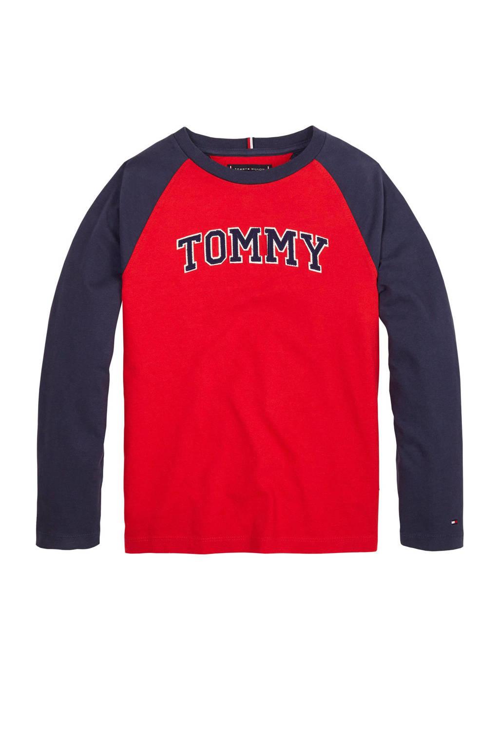 Tommy Hilfiger longsleeve met logo rood/donkerblauw, Rood/donkerblauw