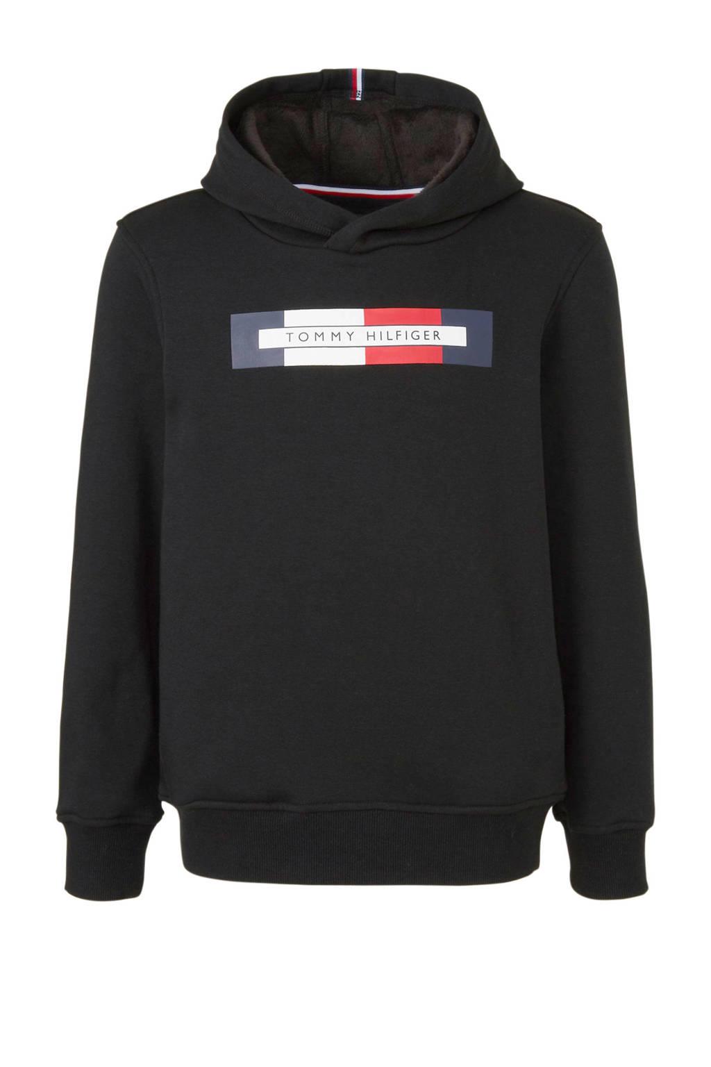 Tommy Hilfiger hoodie met logo zwart/rood/wit/donkerbauw, Zwart/rood/wit/donkerbauw