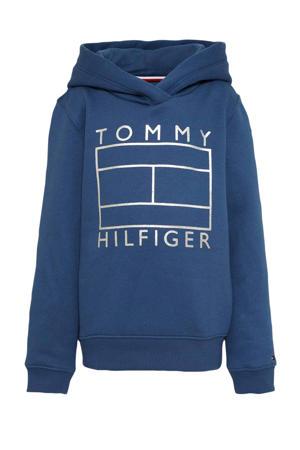 hoodie met printopdruk blauw/zilver
