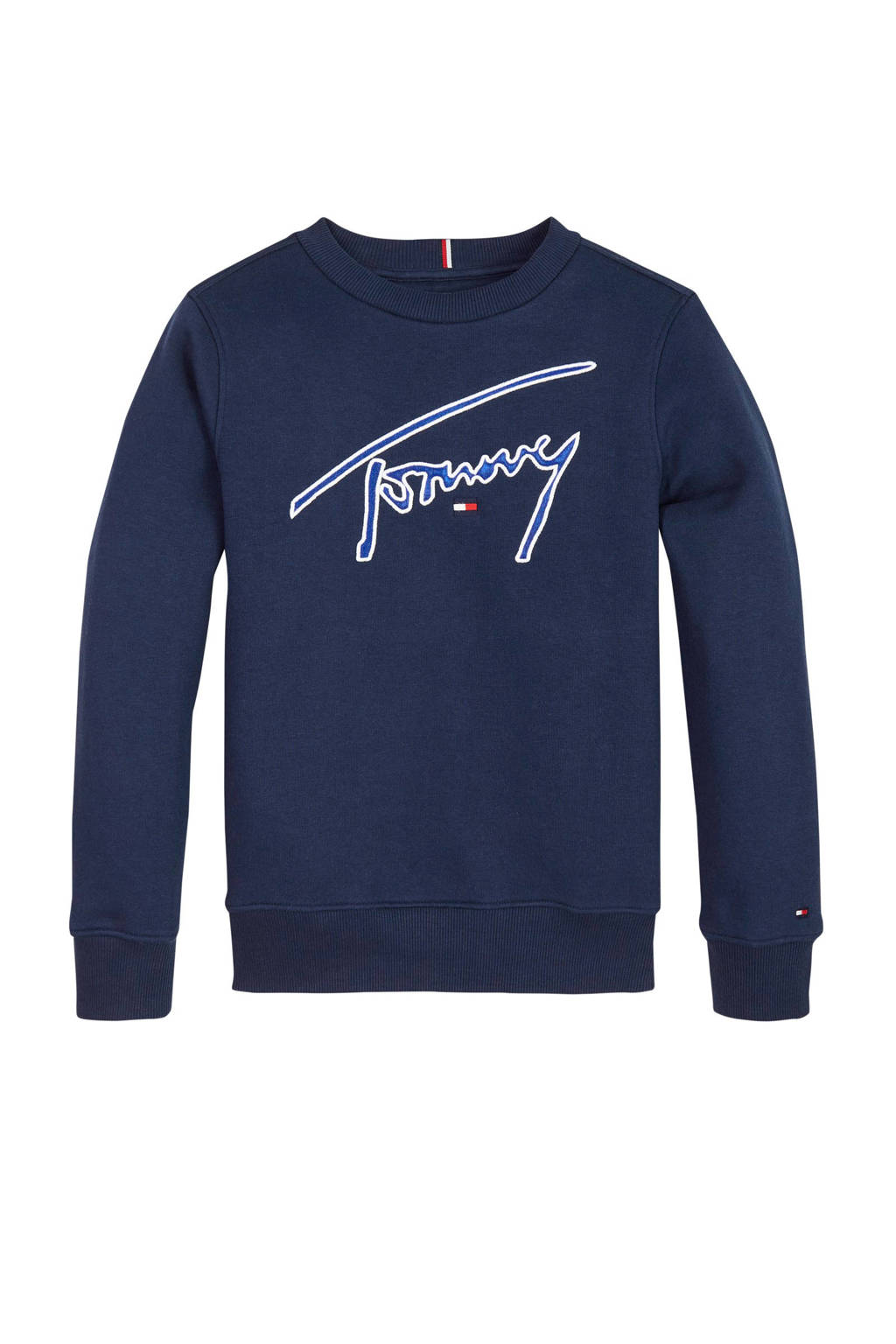 Tommy Hilfiger sweater met logo en borduursels donkerblauw, Donkerblauw