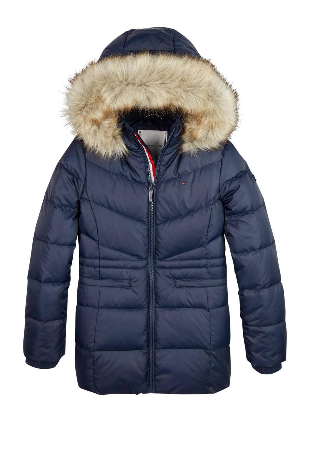 Tommy Hilfiger winterjas met dons en imitatie bontrand donkerblauw, Donkerblauw