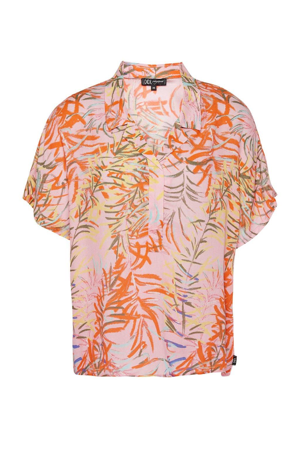 Didi blouse met all over print lichtroze, Lichtroze