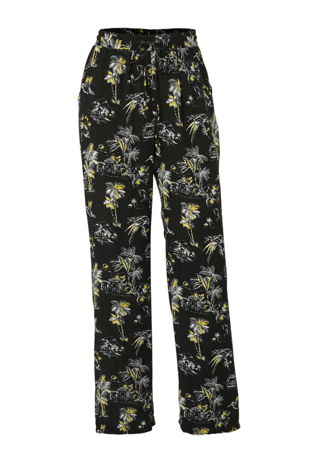 C&A Yessica straight fit broek met all over print zwart, Zwart