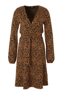 jurk met panterprint bruin/zwart