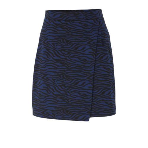anytime gebreide rok met zebraprint donkerblauw/zw