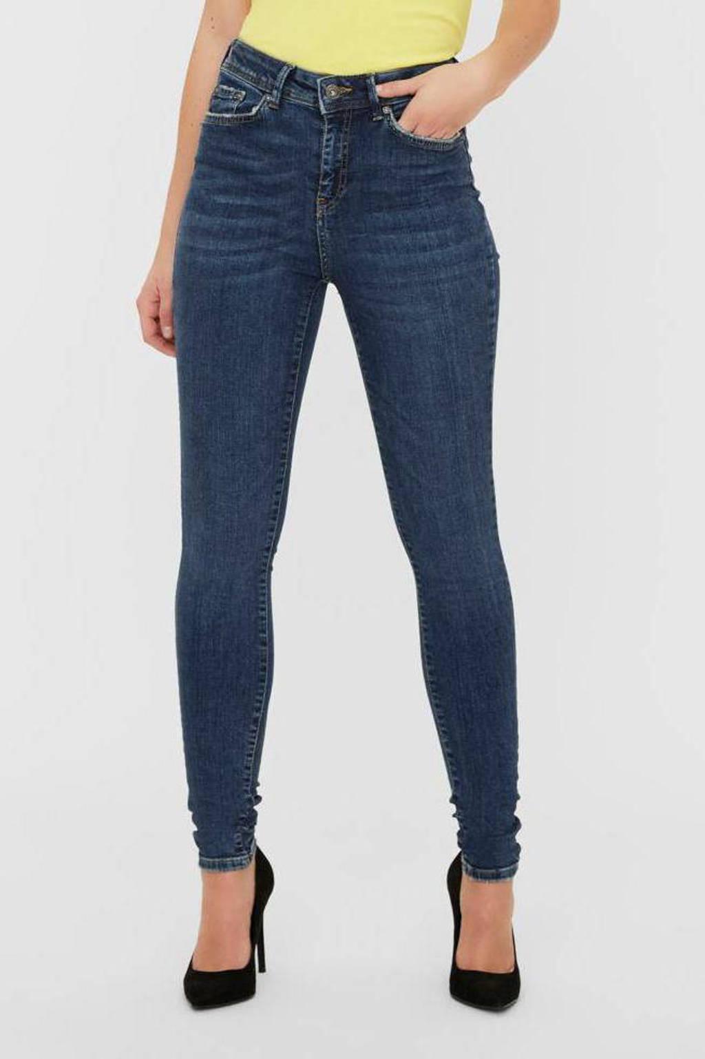NOISY MAY skinny jeans NMVICKY dark blue denim, Donkerblauw