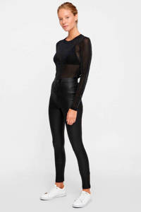 NOISY MAY high waist skinny broek zwart met coating, Zwart