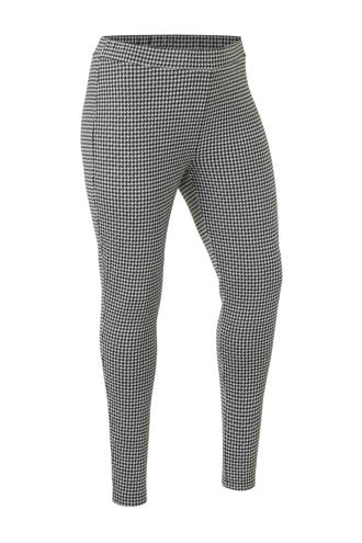 plus size geruite legging zwart/ecru