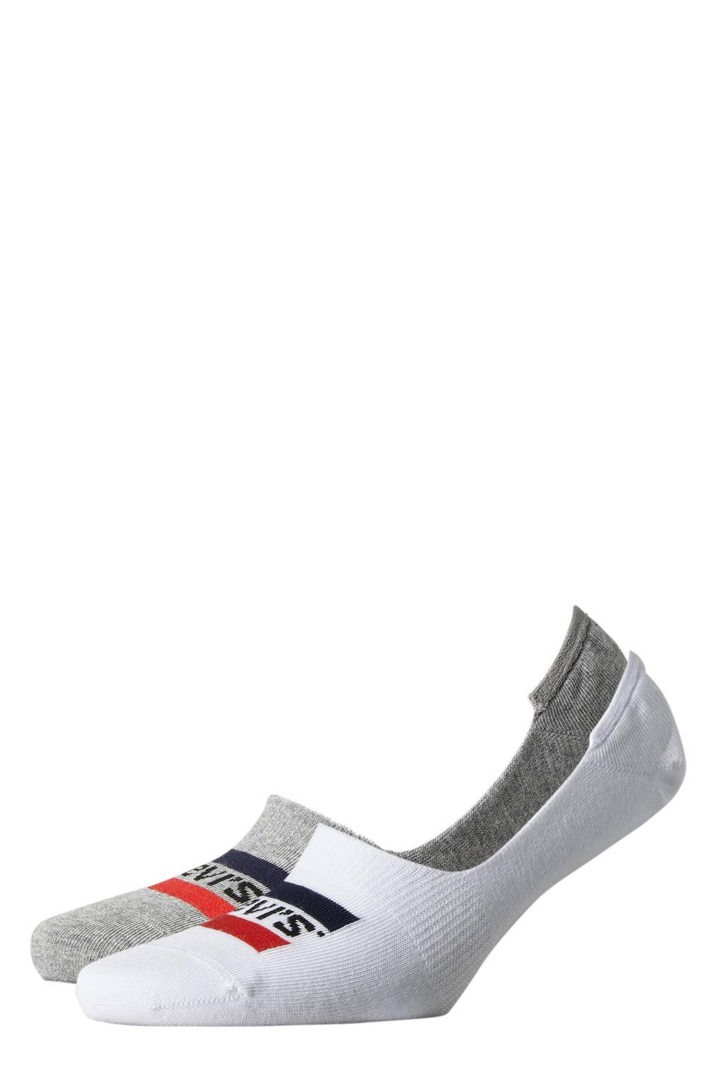 Levi's sneakersokken (2 paar) wit, Wit/grijs