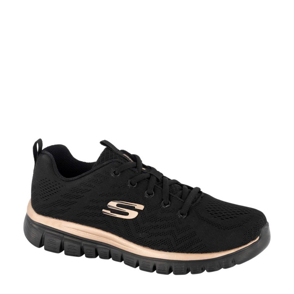 Skechers   sneakers zwart/goud, Zwart/goud