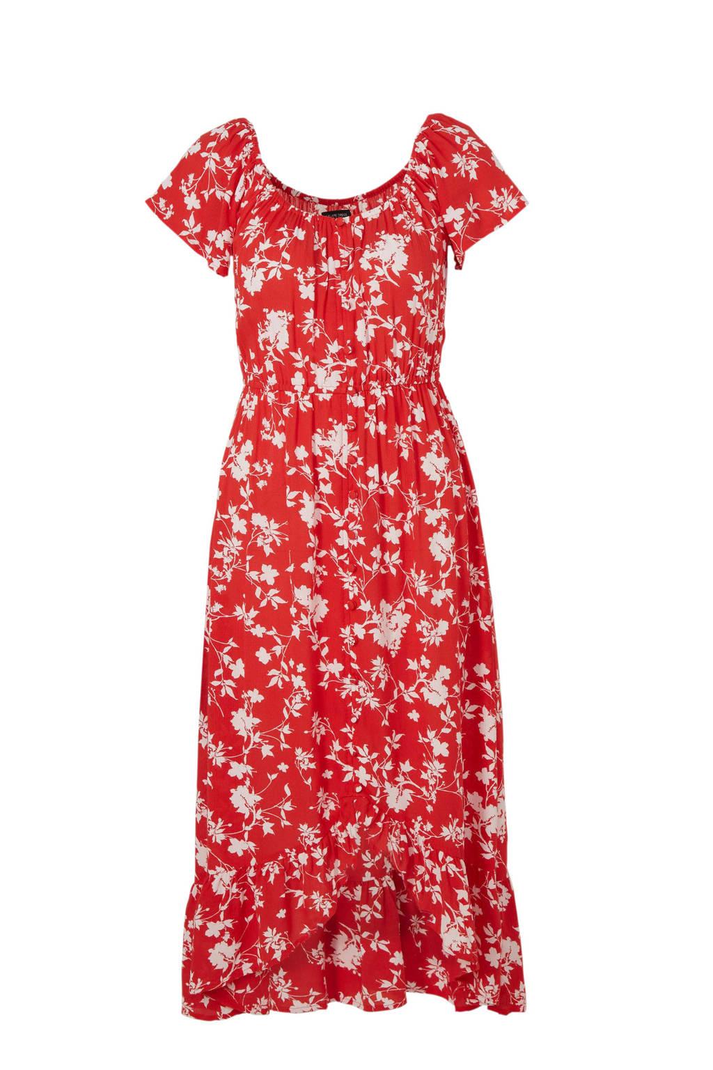 C&A Yessica gebloemde off shoulder jurk rood, Rood