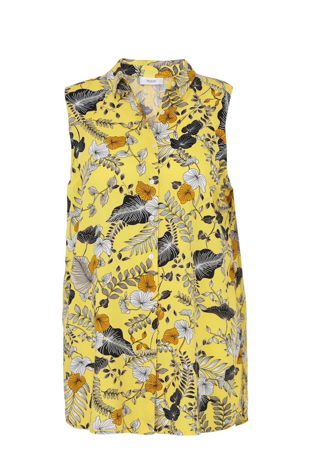 C&A XL Yessica blouse met bladprint geel, Geel