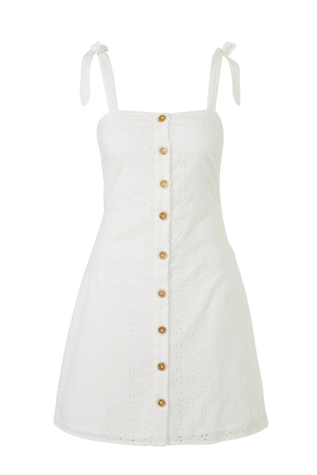 Mango jurk met broderie wit, Wit