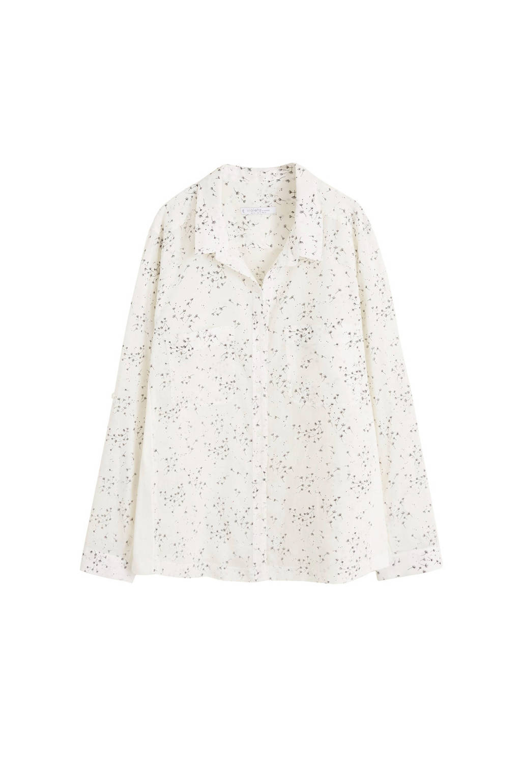 Violeta by Mango blouse met all over print wit, Wit