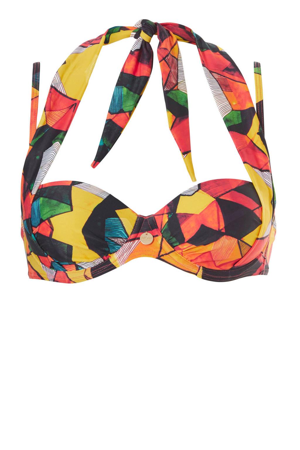 TC WOW beugel bikinitop met all-over print rood, Rood/geel/zwart