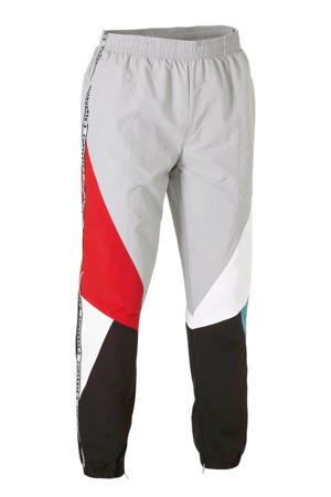regular fit joggingbroek lichtgrijs/rood/zwart