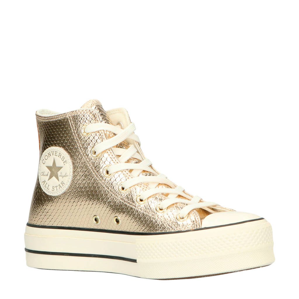 Converse Chuck Taylor All Star Lift Hi plateau sneakers slangenprint goud, Goud
