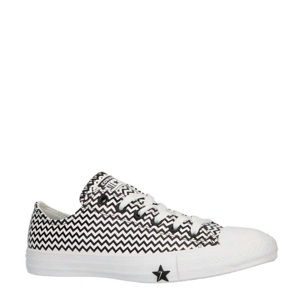 Converse  Chuck Taylor All Star OX leren sneakers zwart/wit, Zwart/wit
