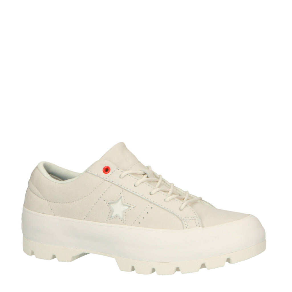 Converse  One Star Lugged OX nubuck sneakers lichtgrijs, Lichtgrijs/wit