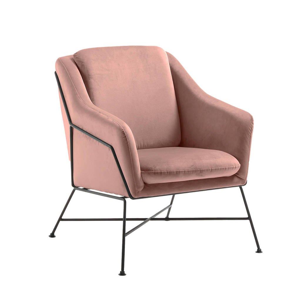 Kave Home fauteuil Brida velours, Roze