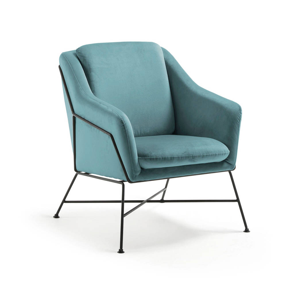 Kave Home fauteuil Brida velours, Turquoise