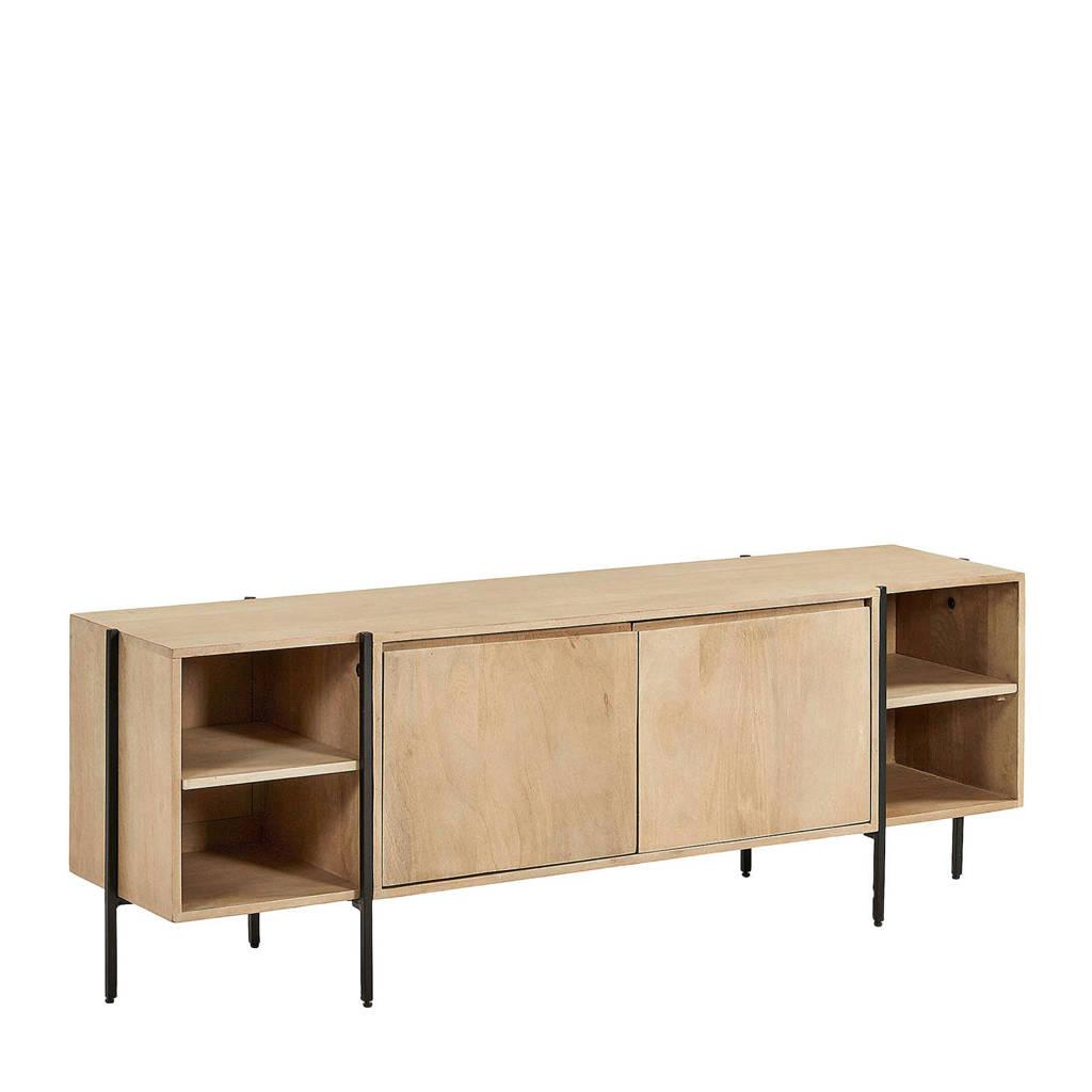Kave Home tv-meubel Palmia, Naturel hout, zwart