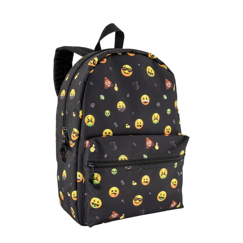 rugzak Emoji zwart, Zwart/geel/multi-kleuren