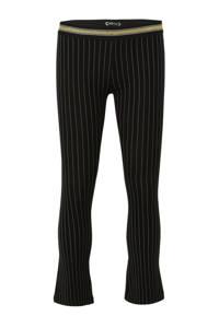 Indian Blue Jeans gestreepte flared broek zwart/goud, Zwart/goud