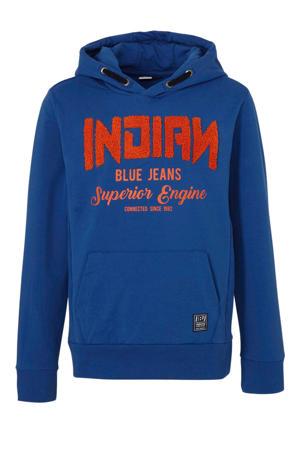 hoodie met logo en 3D applicatie blauw/oranje