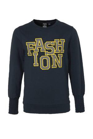 sweater met tekst en borduursels donkerblauw