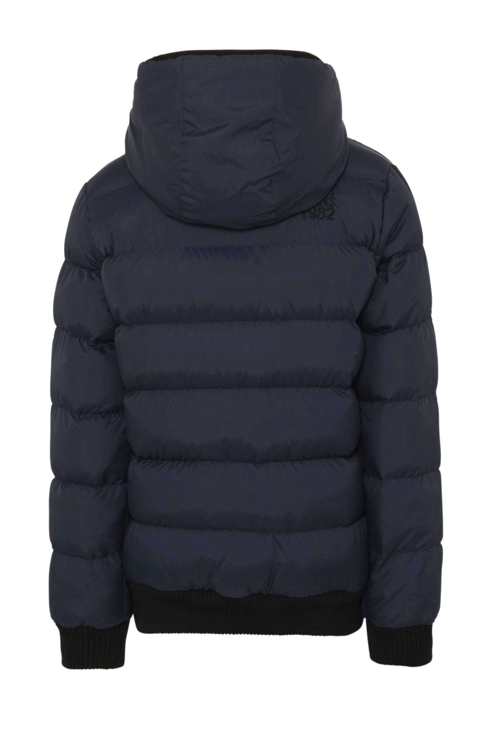 winterjas Drover met contrastbies donkerblauw