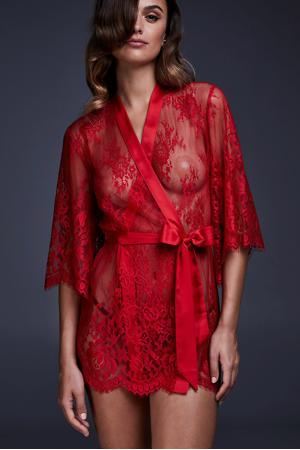 kanten kimono rood