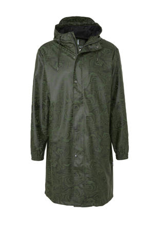 regenjas met camouflageprint groen /zwart