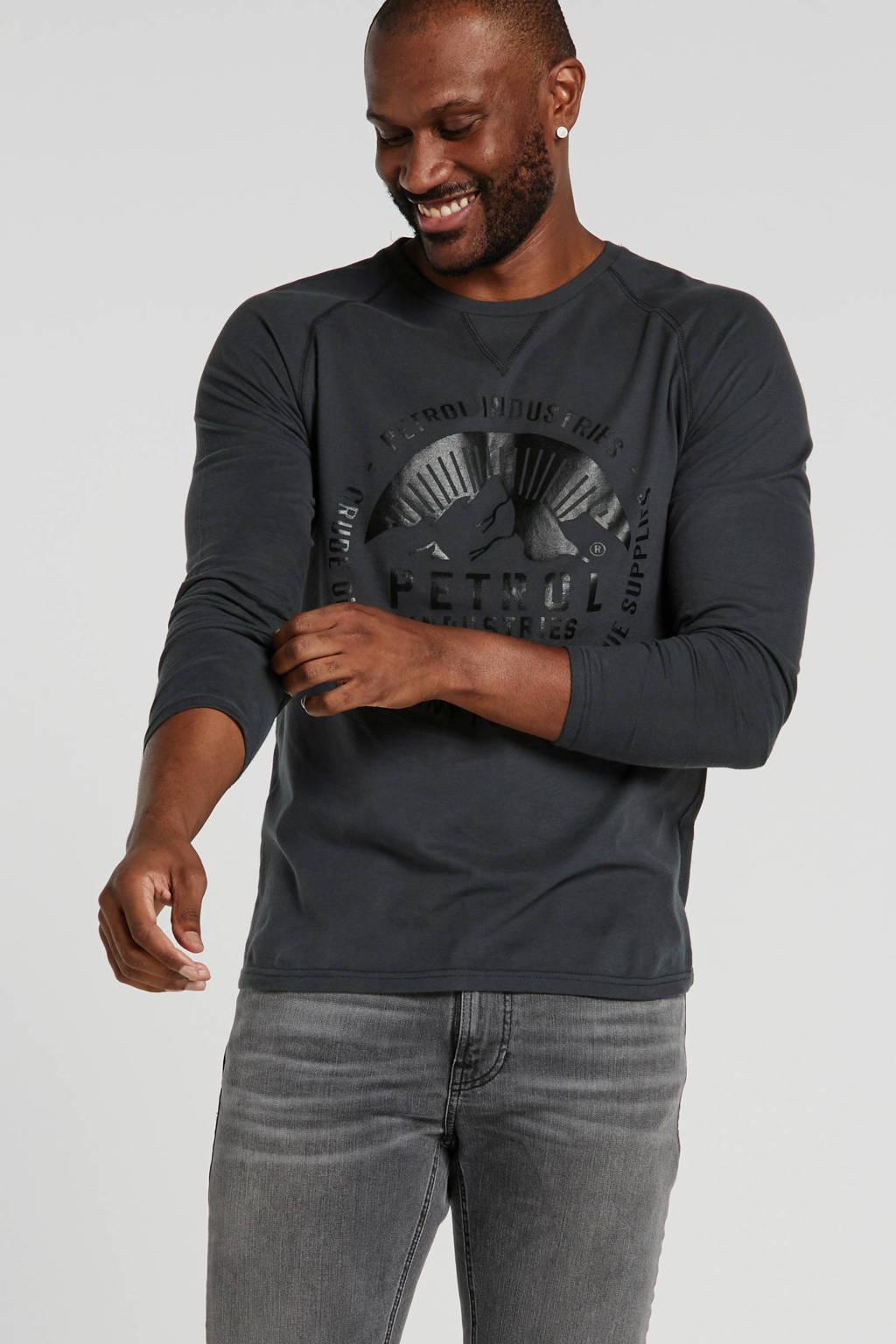 Petrol Industries T-shirt met printopdruk grijsgroen/zwart, Grijsgroen/zwart