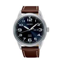 Seiko leren horloge SNE475P1, Bruin