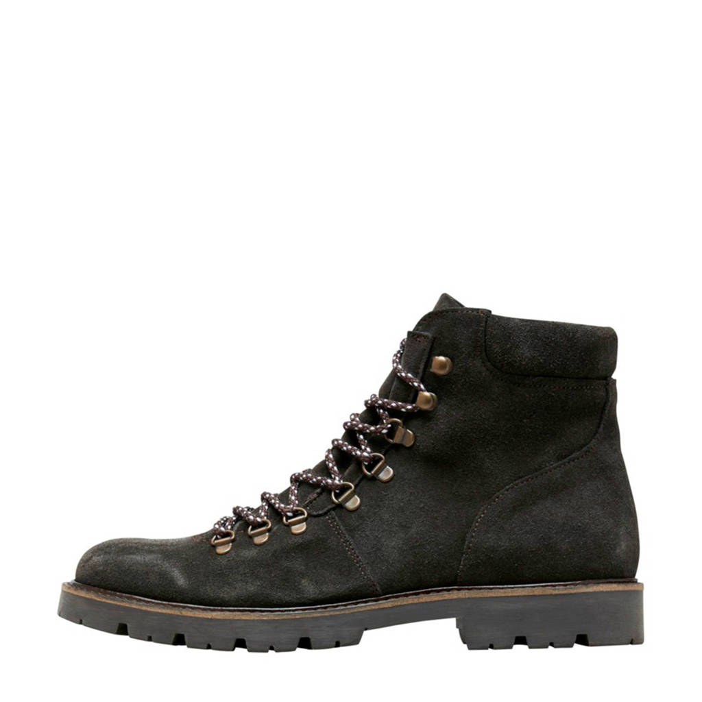 SELECTED HOMME   suède veterboots donkerbruin, Donkerbruin