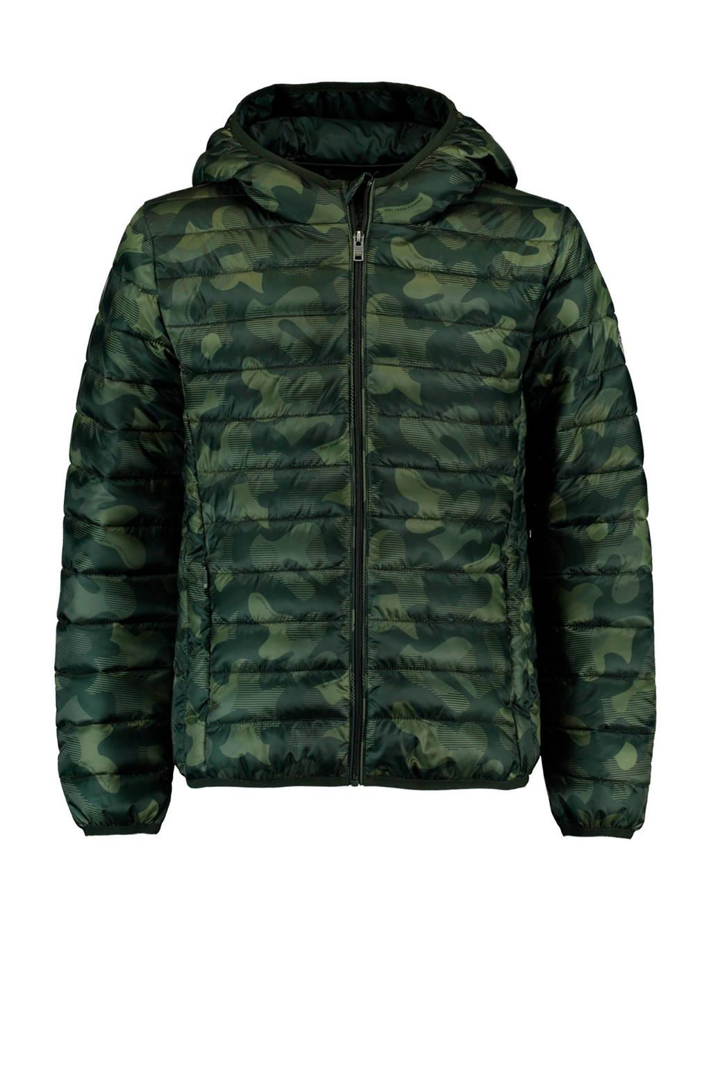 America Today Junior tussenjas met camouflageprint legergroen Alex, Legergroen