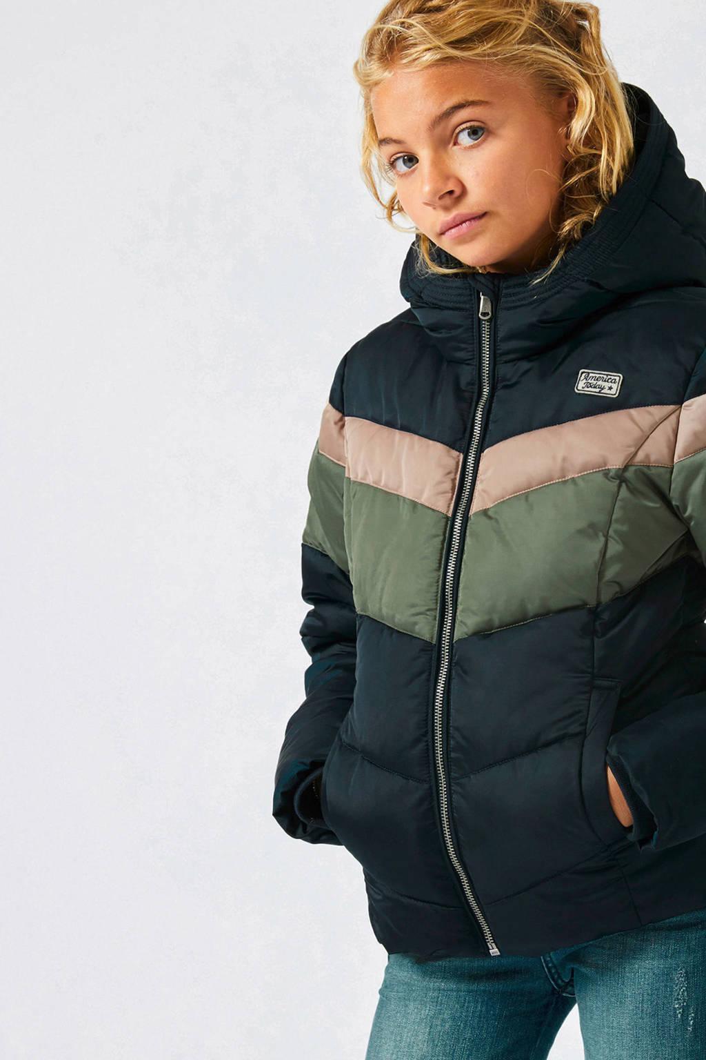 America Today Junior winterjas Jes donkerblauw, Donkerblauw/groen/oudroze