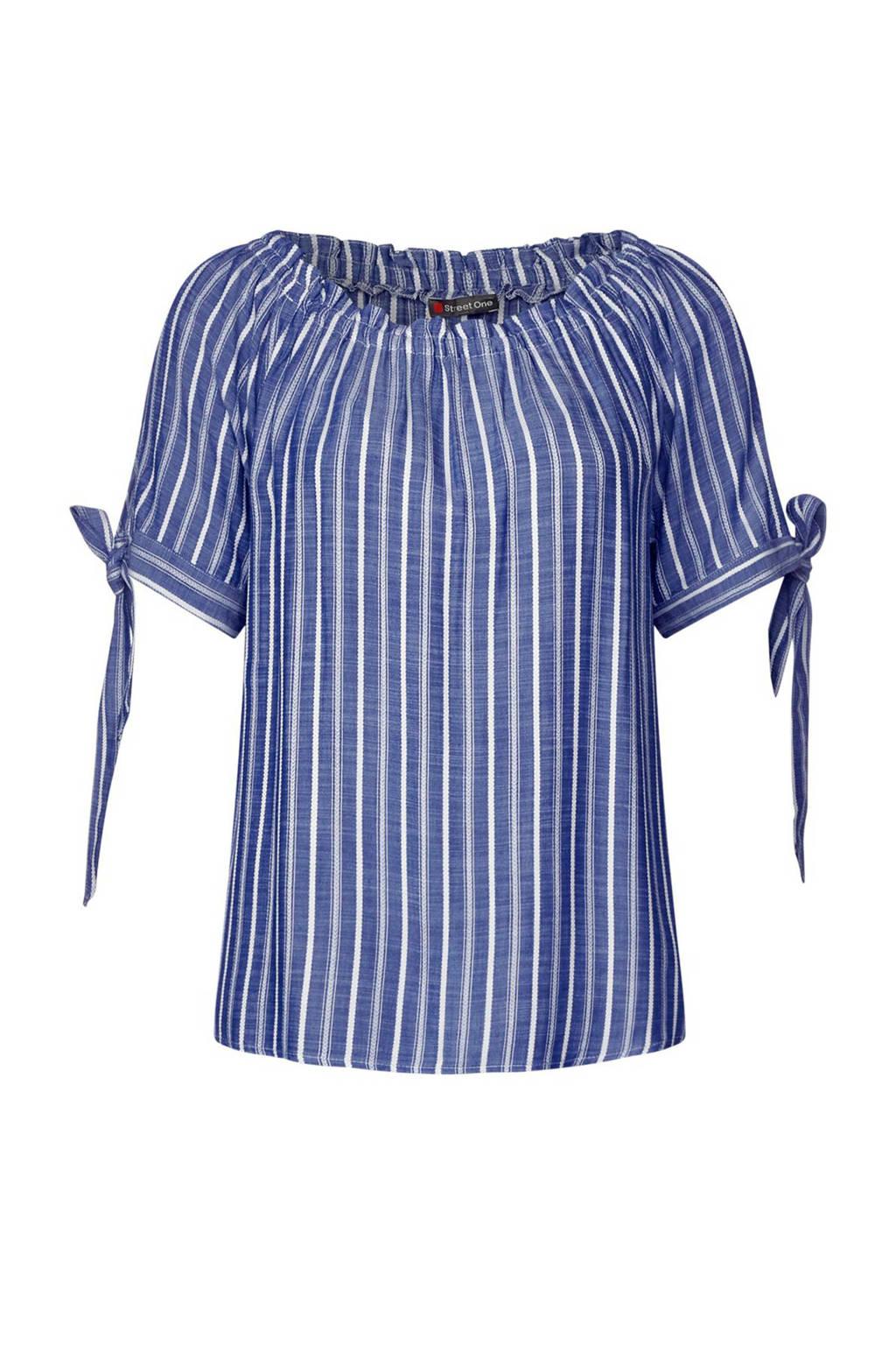 Street One gestreepte off shoulder top blauw/wit, Blauw/wit