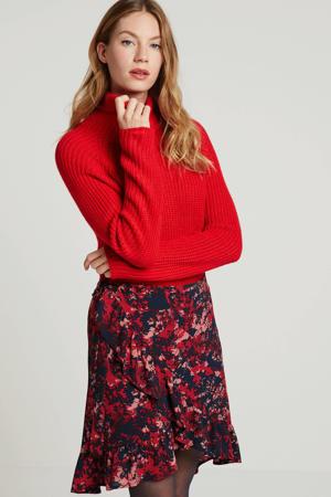 A-lijn rok met all over print rood/donkerblauw