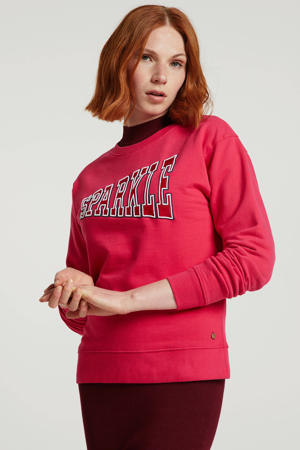 sweater met tekst roze/rood/wit