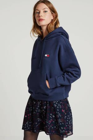 A-lijn rok met all over print donkerblauw/rood/roze