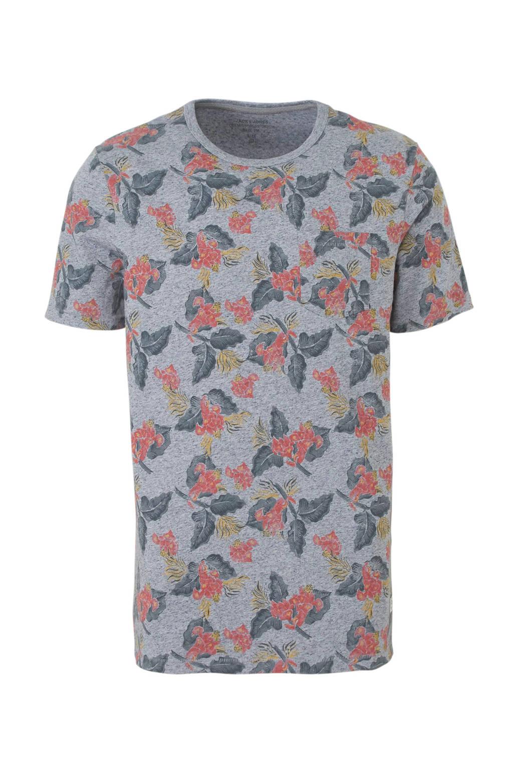 JACK & JONES PREMIUM T-shirt met all over print, Grijs