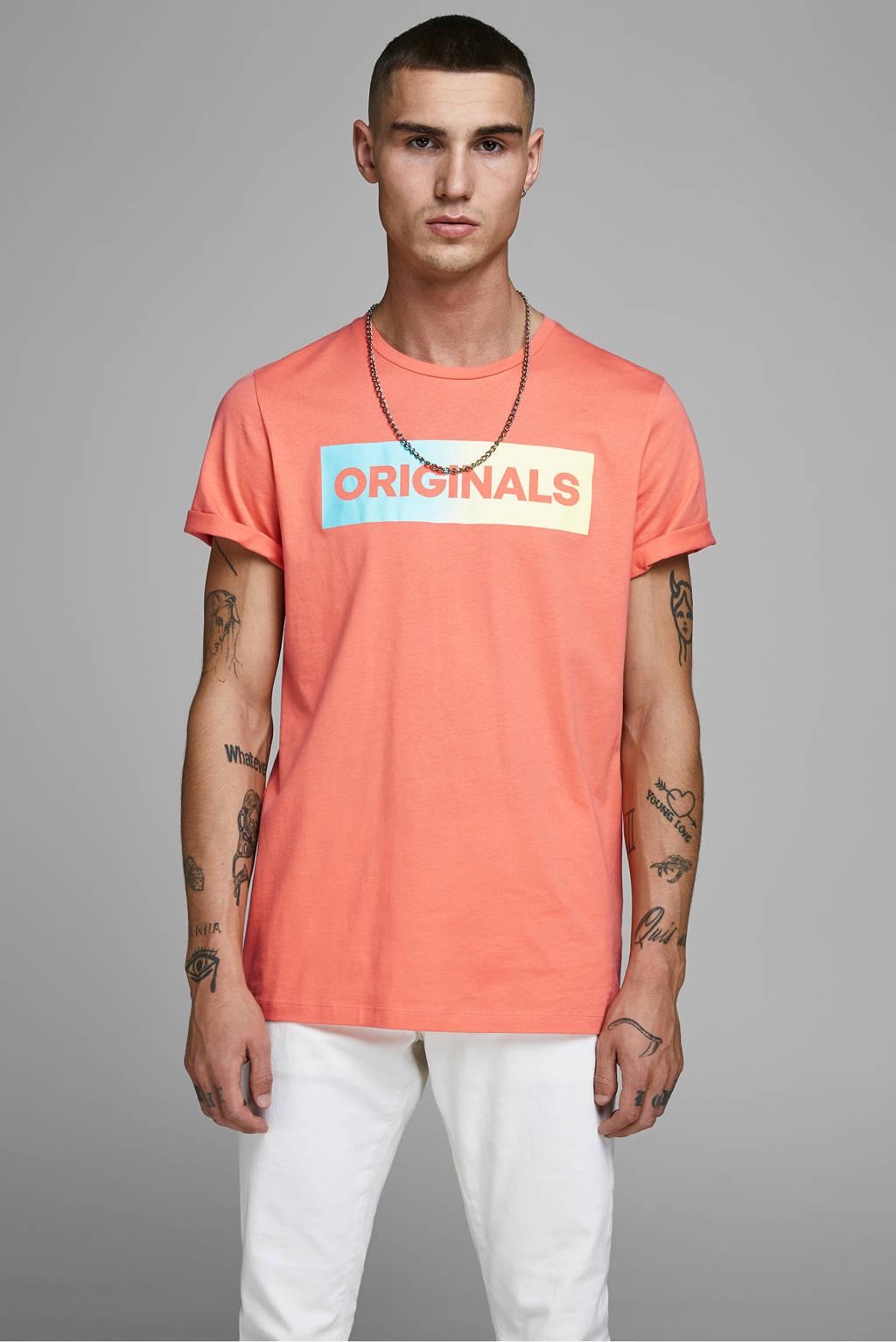 JACK & JONES ORIGINALS T-shirt met tekst oranje/geel/groen, Oranje/geel/groen