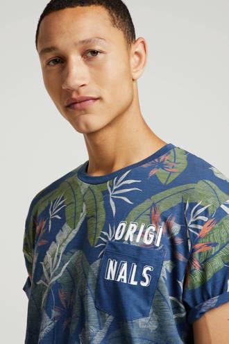 Originals T-shirt met all over print blauw