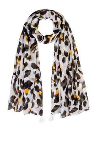 Accessoires tijgerprint sjaal wit