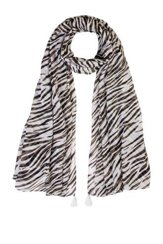 Accessoires zebraprint sjaal groen