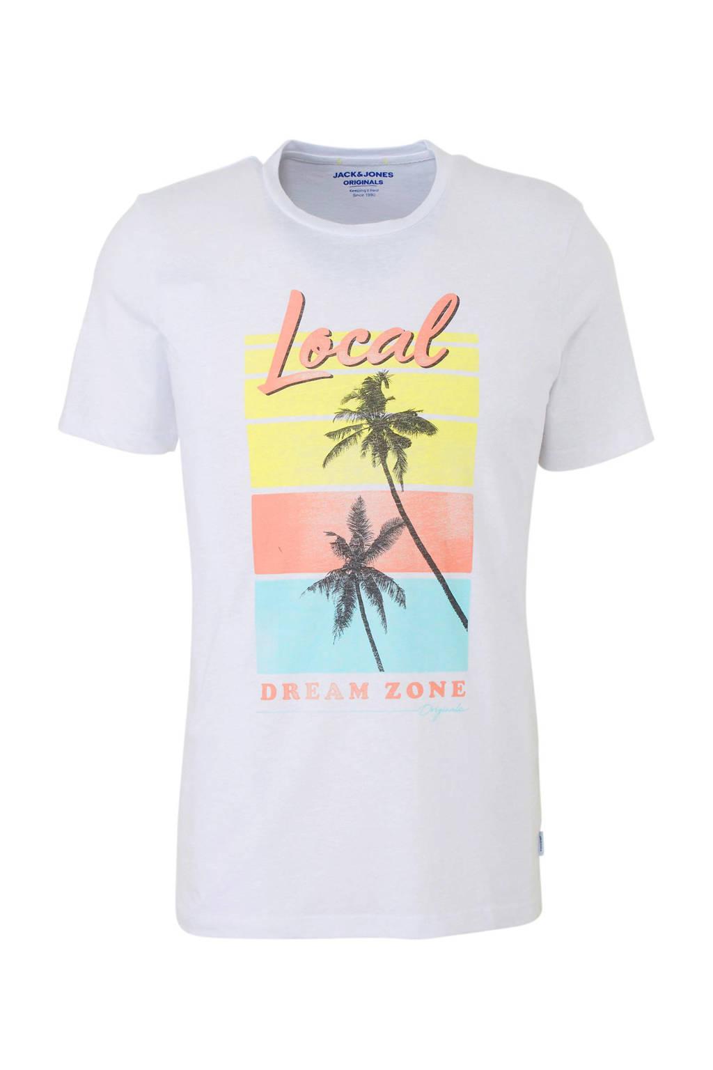 Jack & Jones Originals gemêleerd T-shirt met printopdruk, Wit/geel